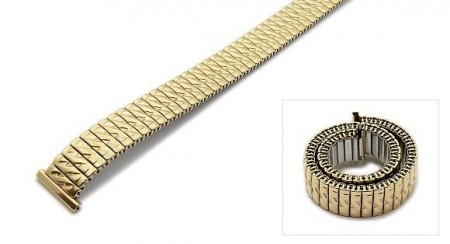Watch strap Fixoflex S expansion strap 12mm stainless steel golden partly polished by ROWI