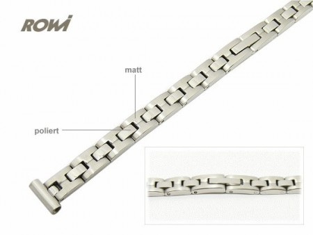 Watch strap 10mm stainless steel solid partly polished by ROWI