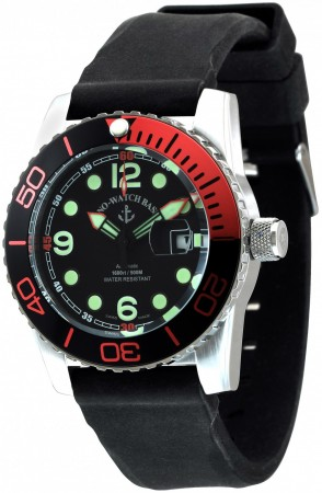 Zeno-Watch Basel Airplane diver 45 mm Automatic Points, black/red 6349-3-a1-5
