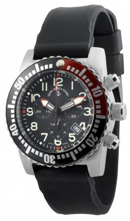 Zeno-Watch Basel Airplane diver 45 mm Quartz Chronograph Numbers, black/red 6349Q-Chrono-a1-7