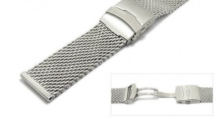 Watch strap 24mm stainless steel mesh solid polished with security clasp by ROWI