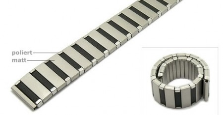 Watch strap Fixoflex C expansion strap 18mm stainless steel dual tone partly polished by ROWI