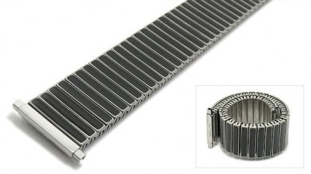 Watch strap Fixoflex S expansion strap 20-25mm stainless steel/ceramic dual tone silver/black by ROWI
