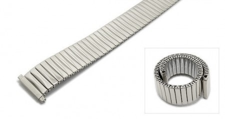 Watch strap Fixoflex S expansion strap telescopic ends 18-22mm stainless steel silver polished ROWI