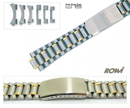 Watch band stainless steel dual tone 18-22mm multiple ends curved/straight sporty deployant clasp
