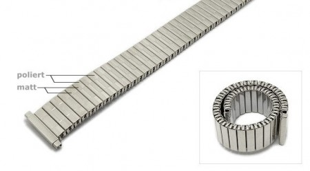 Watch strap Fixoflex S expansion strap telescopic ends 16-20mm stainless steel silver ROWI