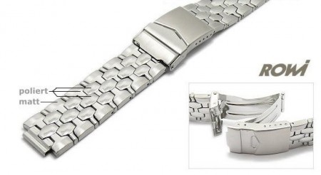 Watch strap 20-22mm stainless steel multiple ends partly polished with security clasp by ROWI