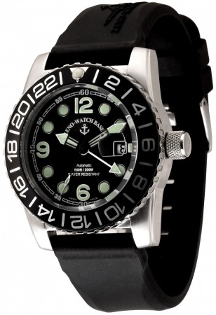 Zeno-Watch Basel Airplane diver 45 mm Automatic GMT Points (Dual Time), black6349-3-GMT-a1