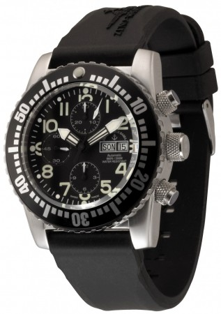 Zeno-Watch Basel Airplane diver 45 mm Automatic Chronograph Numbers, black 6349TVDD-12-a1
