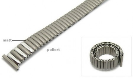 Watch strap Fixoflex S expansion strap 16mm titanium silver partly polished by ROWI