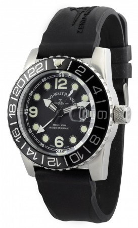 Zeno-Watch Basel Airplane diver 45 mm Quartz GMT Points (Dual Time), black 6349Q-GMT-a1