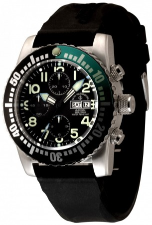 Zeno-Watch Basel Airplane diver 45 mm Automatic Chronograph Numbers, black/green 6349TVDD-12-a1-8