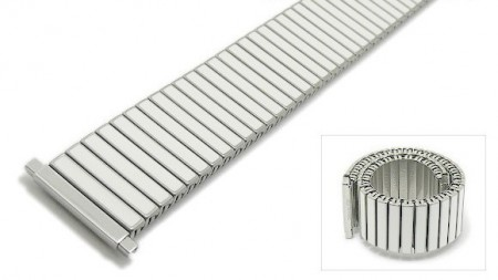 Watch strap Fixoflex S expansion strap 20-25mm stainless steel/ceramic dual tone silver/white by ROWI