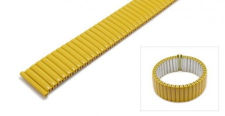 Watch strap Fixoflex S expansion strap 20mm stainless steel matt yellow by ROWI