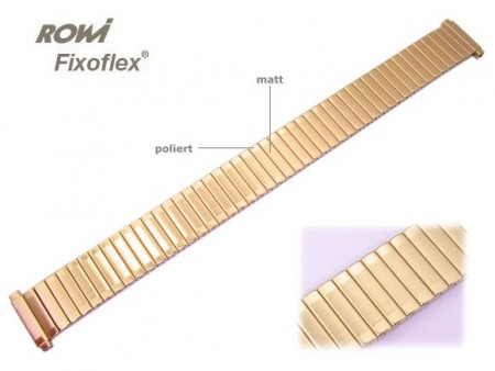 Watch band Fixoflex S expansion band telescopic end 14-17mm stainless steel golden-colored ROWI