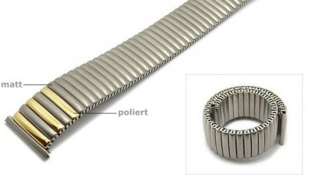 Watch strap Fixoflex S expansion strap 22mm titanium dual tone partly polished by ROWI