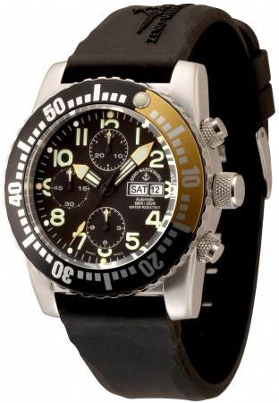 Zeno-Watch Basel Airplane diver 45 mm Automatic Chronograph Numbers, black/yellow 6349TVDD-12-a1-9