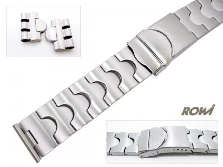 Watch strap 19-22mm stainless steel sporty matt including Swatch lug ends by ROWI
