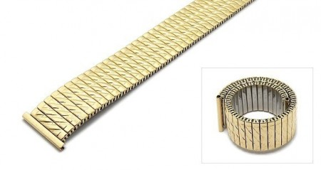 Watch strap Fixoflex S expansion strap 20mm stainless steel golden partly polished by ROWI