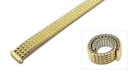 Watch strap Fixoflex S expansion strap telescopic ends 12-15mm stainless steel golden by ROWI