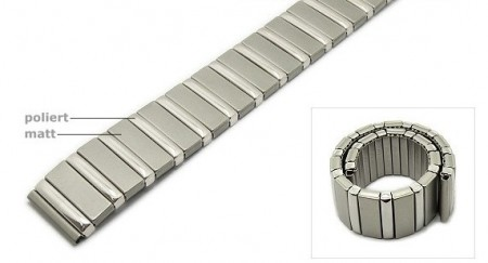 Watch strap Fixoflex C expansion strap 18mm stainless steel silver partly polished by ROWI