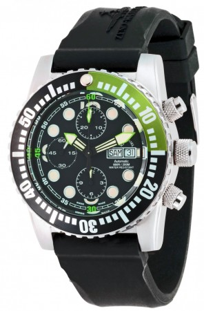 Zeno-Watch Basel Airplane diver 45 mm Automatic Chronograph Points, black/green 6349TVDD-3-a1-8
