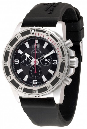Zeno-Watch Basel Professional diver Automatic Chrono Big Date black+red 46 mm 6478-5040Q-s1-7