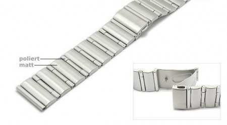 Watch strap 22mm stainless steel partly polished solid look with clasp by ROWI
