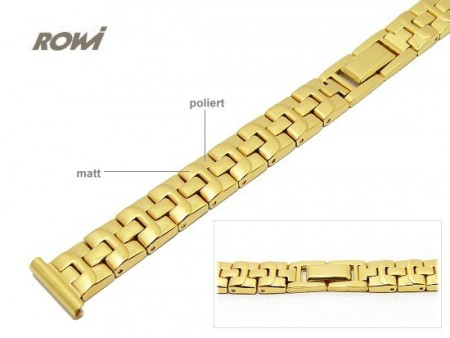 Watch strap 14mm stainless steel golden partly polished solid look sporty elegant by ROWI