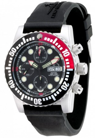 Zeno-Watch Basel Airplane diver 45 mm Automatic Chronograph Points, black/red 6349TVDD-3-a1-7