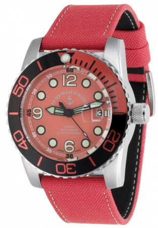 Zeno-Watch Basel Airplane diver 45 mm Points, black/orange 6349-3-a5