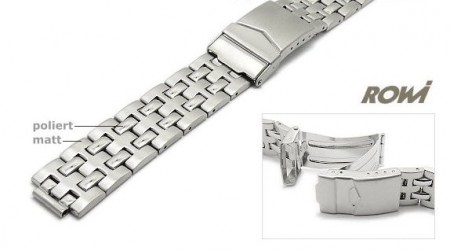 Watch strap 18-20mm stainless steel multiple ends partly polished with security clasp by ROWI