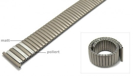 Watch strap Fixoflex S expansion strap 22mm titanium silver partly polished by ROWI
