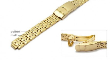 Watch strap 12-16mm stainless steel golden multiple ends with security clasp by ROWI