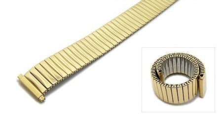 Watch strap Fixoflex S expansion strap telescopic ends 16-20mm stainless steel golden polished ROWI