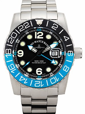 Zeno-Watch Basel Airplane diver 45 mm Quartz GMT Points (Dual Time), black/blue 6349Q-GMT-a1-4M