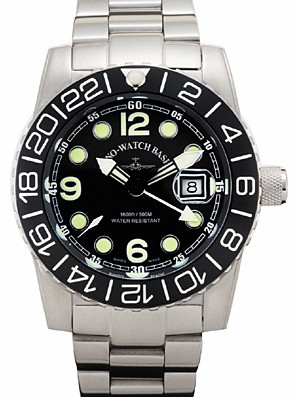 Zeno-Watch Basel Airplane diver 45 mm Quartz GMT Points (Dual Time), black 6349Q-GMT-a1M