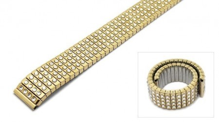 Watch strap Fixoflex C expansion strap 16mm stainless steel golden with crystals by ROWI