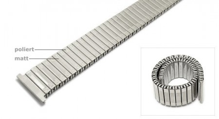 Watch strap Fixoflex expansion strap 20mm stainless steel silver extravagant ROWI