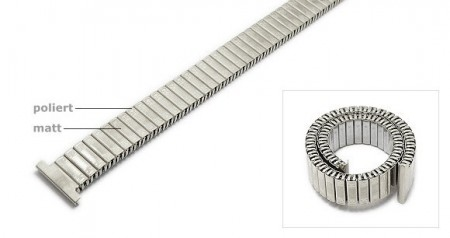 Watch strap Fixoflex expansion strap 12mm stainless steel silver extravagant ROWI