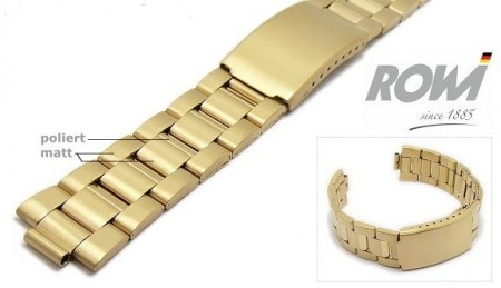 Watch band stainless steel golden 18-22mm multiple ends curved/straight partly polished