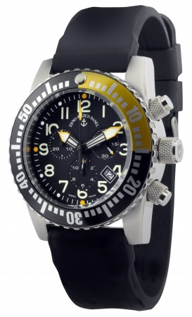 Zeno-Watch Basel Airplane diver 45 mm Quartz Chronograph Numbers, black/yellow 6349Q-Chrono-a1-9