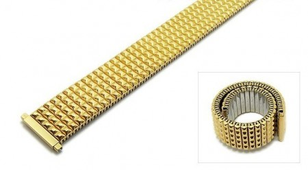 Watch strap Fixoflex S expansion strap telescopic ends 18-22mm stainless steel golden by ROWI