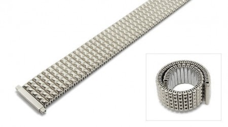 Watch strap Fixoflex S expansion strap telescopic ends 18-22mm stainless steel silver by ROW
