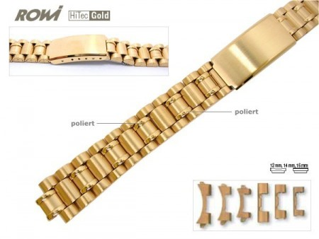 Watch band stainless steel golden 12-16mm multiple ends curved/straight sporty deployant clasp