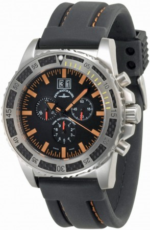 Zeno-Watch Basel Professional diver Automatic Chrono Big Date black+orange 46 mm 6478-5040Q-a15-9