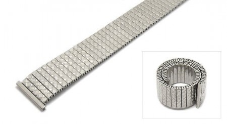 Watch strap Fixoflex S expansion strap 20mm stainless steel silver polished by ROWI