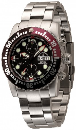 Zeno-Watch Basel Airplane diver 45 mm Automatic Chronograph Numbers, black/red 6349TVDD-3-a1-7M