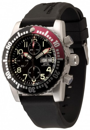 Zeno-Watch Basel Airplane diver 45 mm Automatic Chronograph Numbers, black/red 6349TVDD-12-a1-7