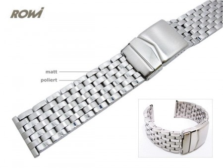 Watch strap 24mm stainless steel solid look partly polished by ROWI
